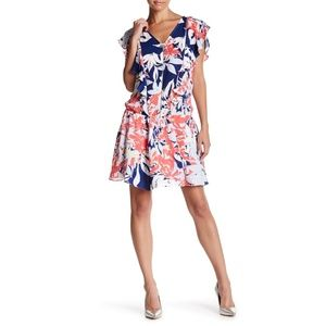 Parker V-Neck Ruffle Floral Gardenia Dress Small